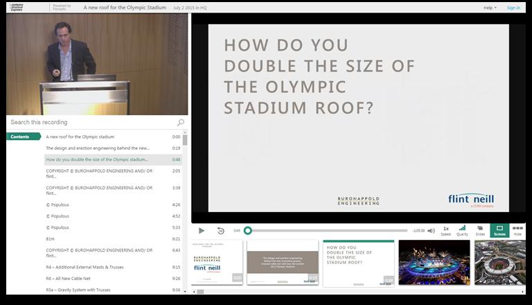 Doubler la taille du toit du stade olympique - Plateforme de présentations vidéo Panopto