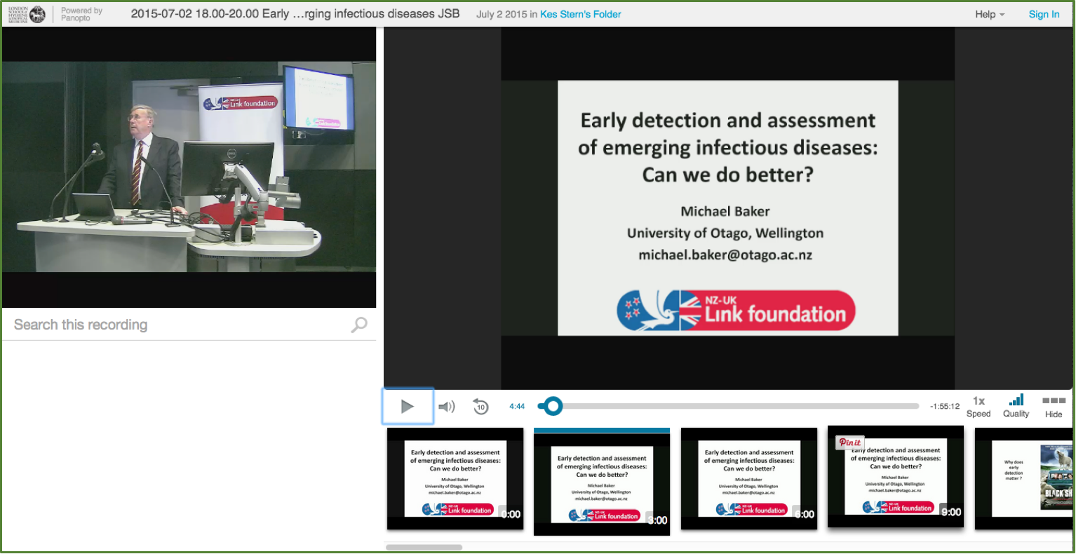 Early Detection of Emerging Diseases - Panopto Event Capture Platform