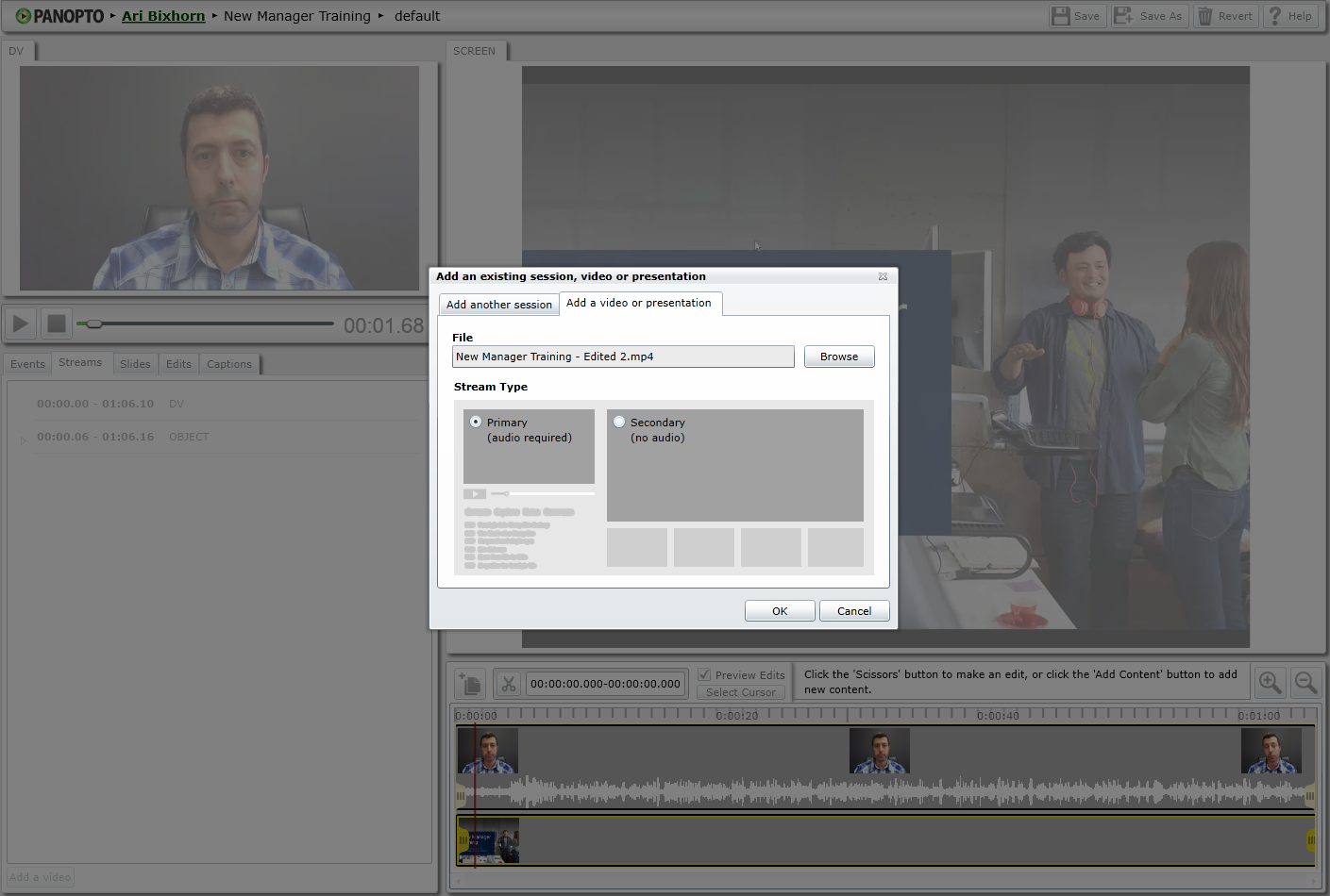 Editor - Select Video - Panopto Enterprise Video Platform