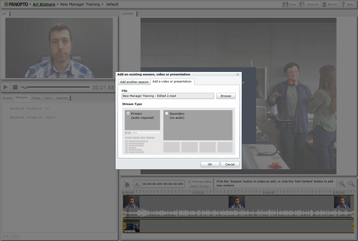편집자-비디오 선택-Panopto 엔터프라이즈 비디오 플랫폼