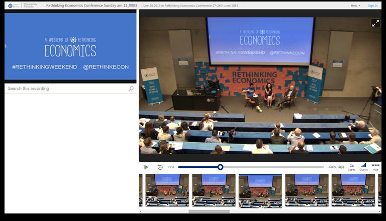 Repenser l'économie - Plateforme de présentations vidéo Panopto