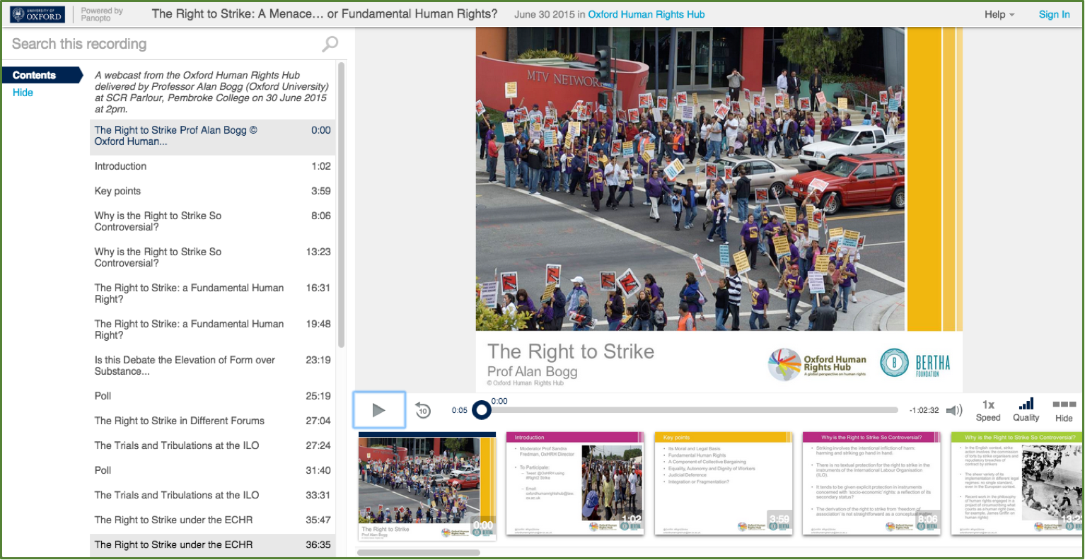 The Right to Strike - Panopto Video Presentation Platform