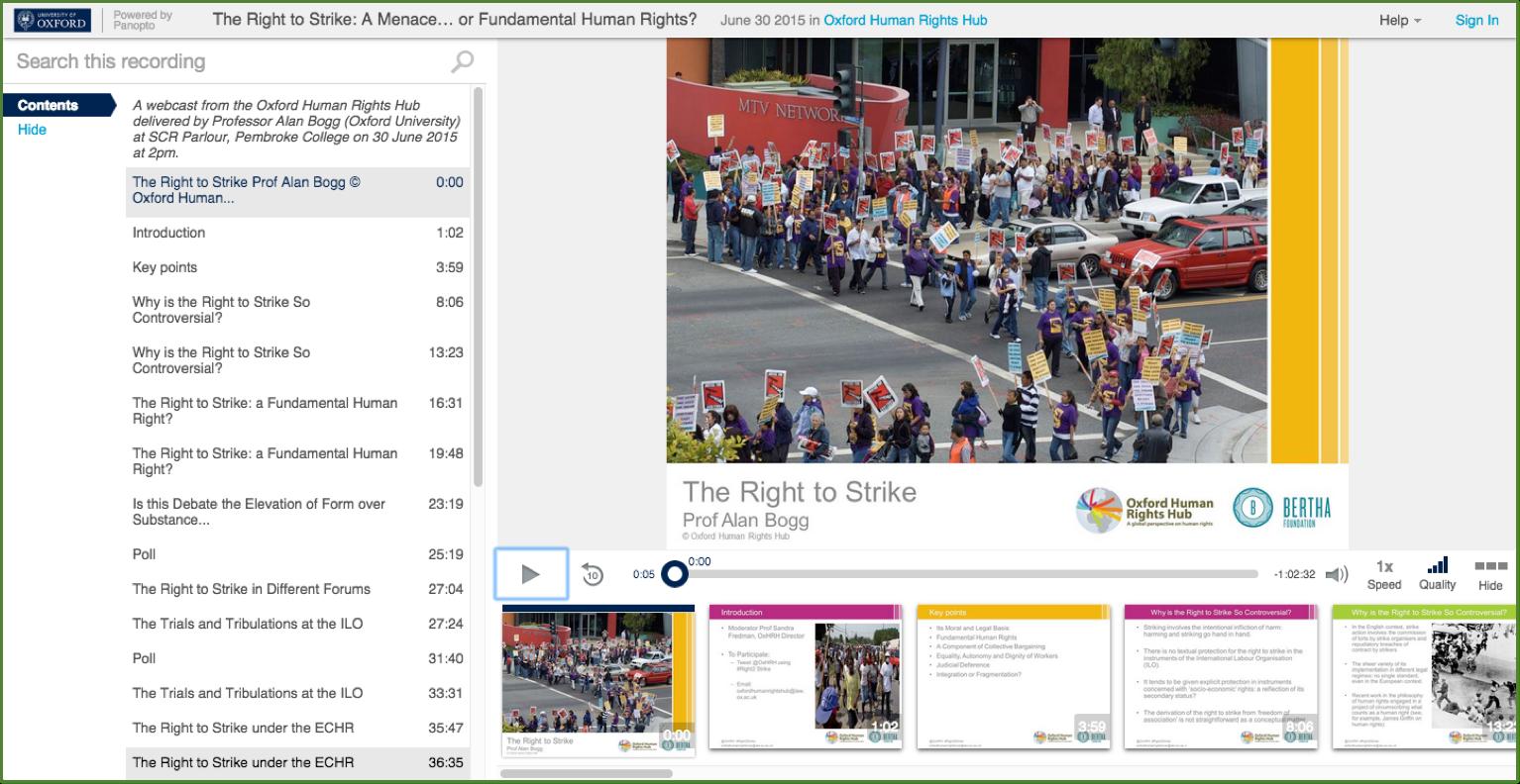 Le droit de grève - Panopto Video Presentation Platform