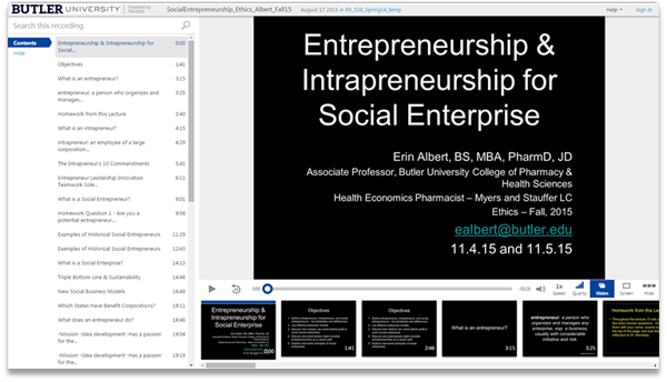 Entrepreneurship and Social Enterprise - Panopto Video Platform