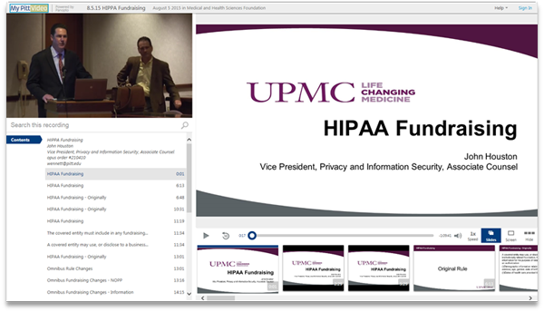 HIPAA Fundraising - Panopto Video Presentation Software