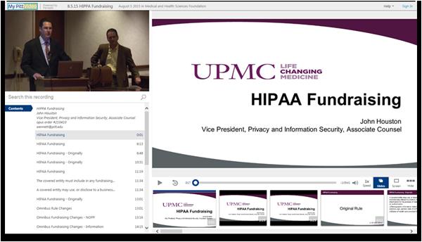 HIPAA-Fundraising - Panopto Video-Präsentations-Software