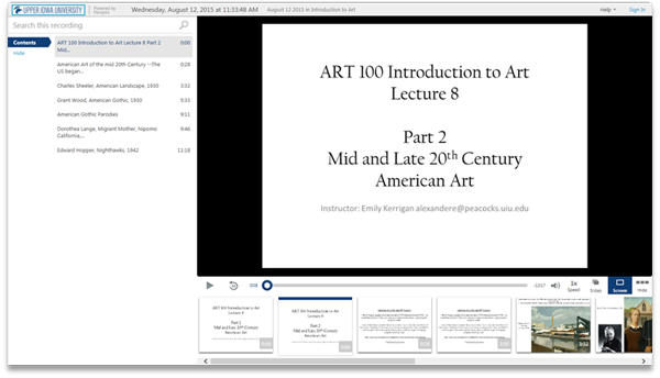 Intro to Art Mid and Late 20th Century - Panopto Video Presentation Software