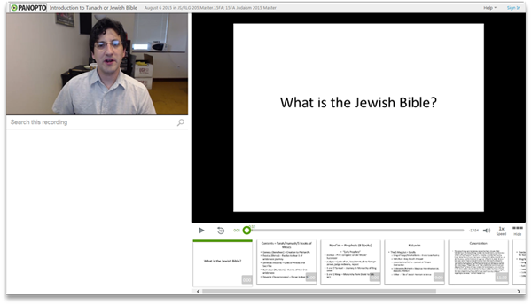 Introduction to Tanach or Jewish Bible - Panopto Video Presentation Software