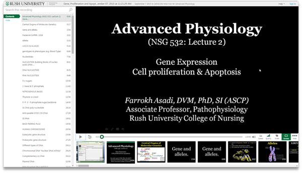 Advanced Physiology - Panopto Video Presentation Software