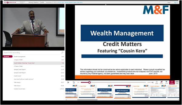 Credit Matters - Panopto Video Platform