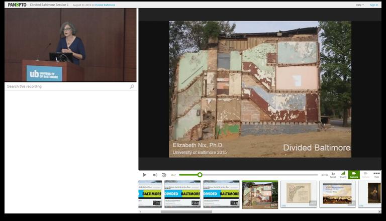 Geteiltes Baltimore - Panopto Video-Präsentations-Software
