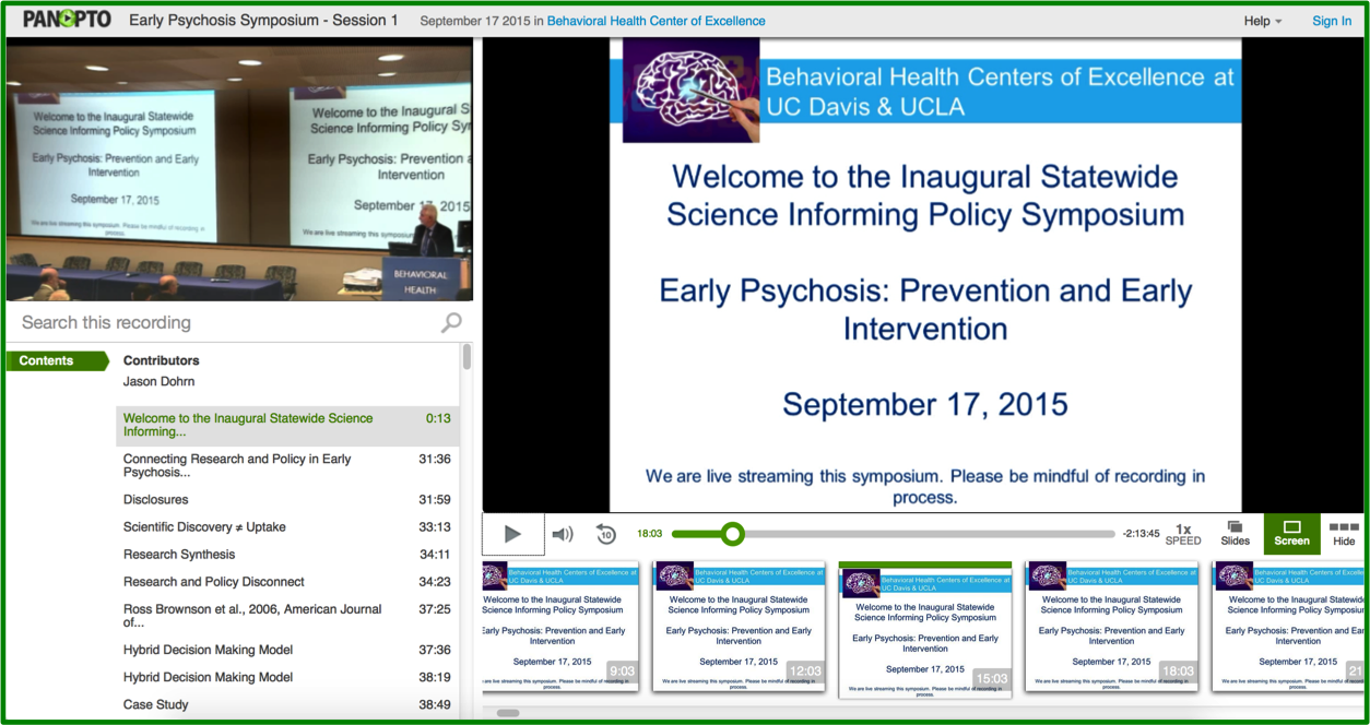 Early Psychosis Symposium - Panopto Video Platform