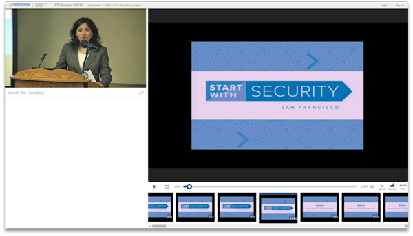 FTC Start with Security - Panopto Video Presentation Software