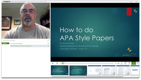 How to do APA style papers - Panopto Video Presentation Software