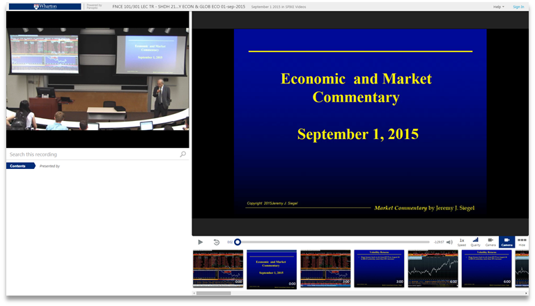 Market and Economy Commentary - Panopto Video Presentation Software