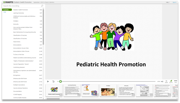 Pediatric Health Promotion - Panopto Video Presentation Software
