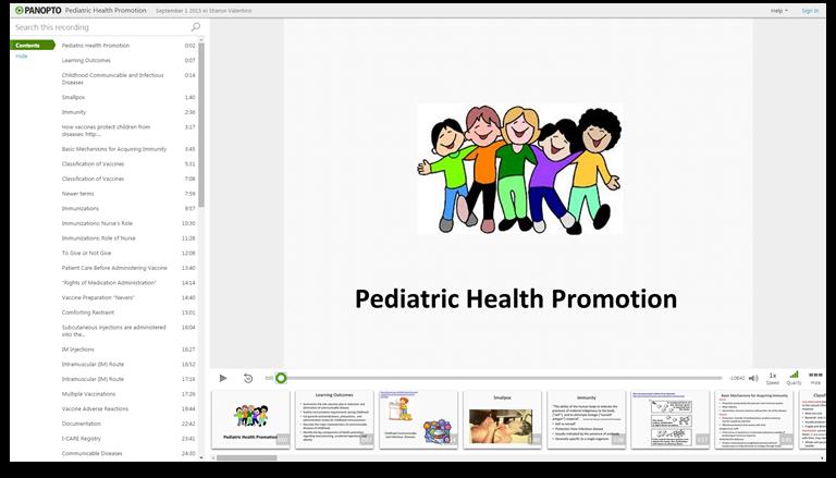 Pädiatrische Gesundheitsförderung - Panopto Video-Präsentationssoftware