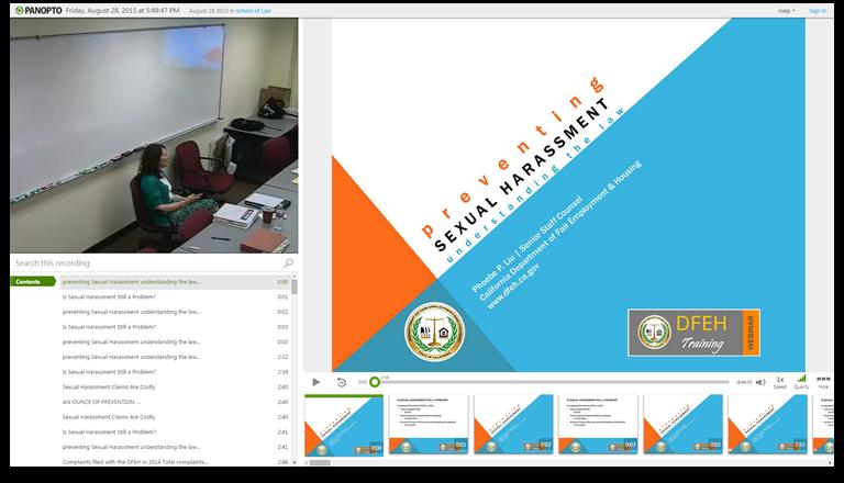 Vorbeugung gegen sexuelle Belästigung - Panopto Video-Präsentationssoftware