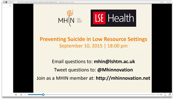 Preventing Suicide in Low Resource Settings - Panopto Video Presentation Software