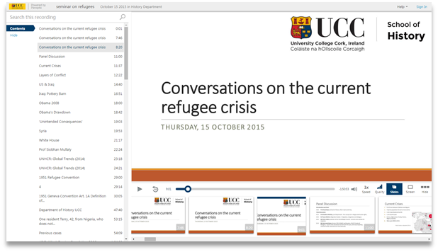 Conversations on the current refugee crisis - Panopto Video Presentation Software