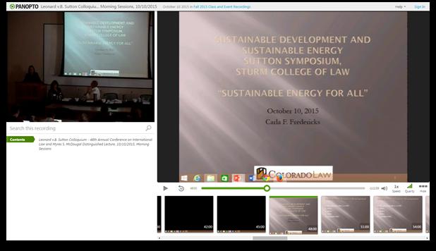 Leonard v.B. Sutton Colloquium - Panopto Video Presentation Software