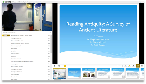 Reading Antiquity - Panopto Video Presentation Software