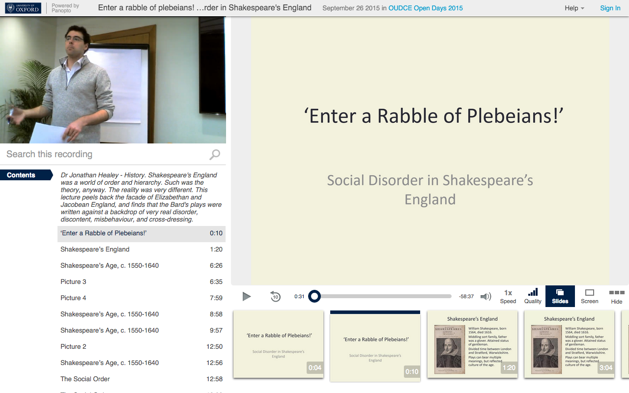 Social Disorder in Shakespeare - Panopto Video Platform