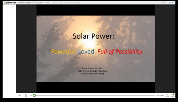 Sonnenenergie - Panopto Video-Präsentationssoftware