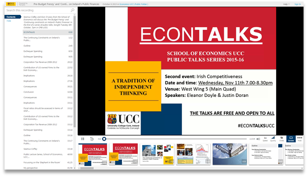 UCC Econ Talks - Panopto Video Presentation Software