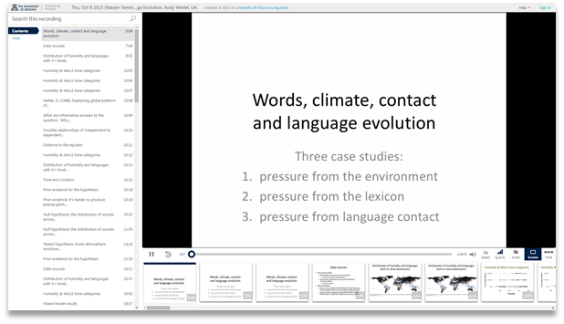 Words Climate Contact and Language Evolution - Panopto Video Presentation Software