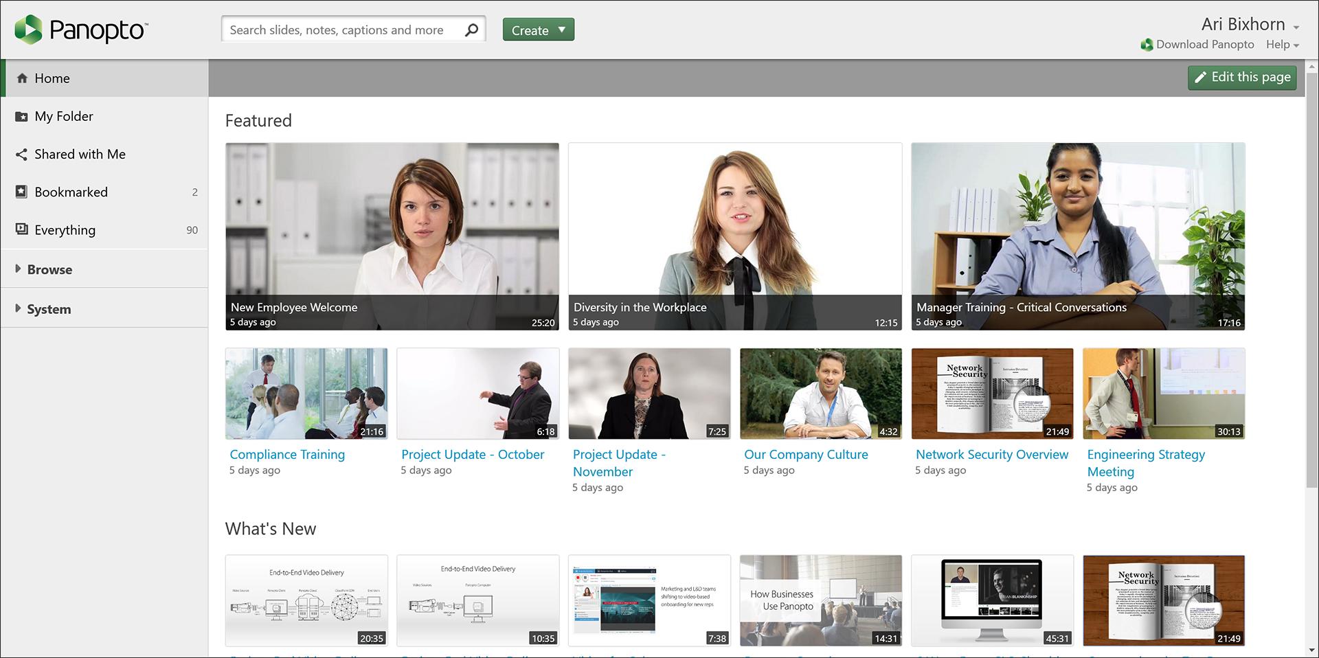 Panopto Video CMS Homepage