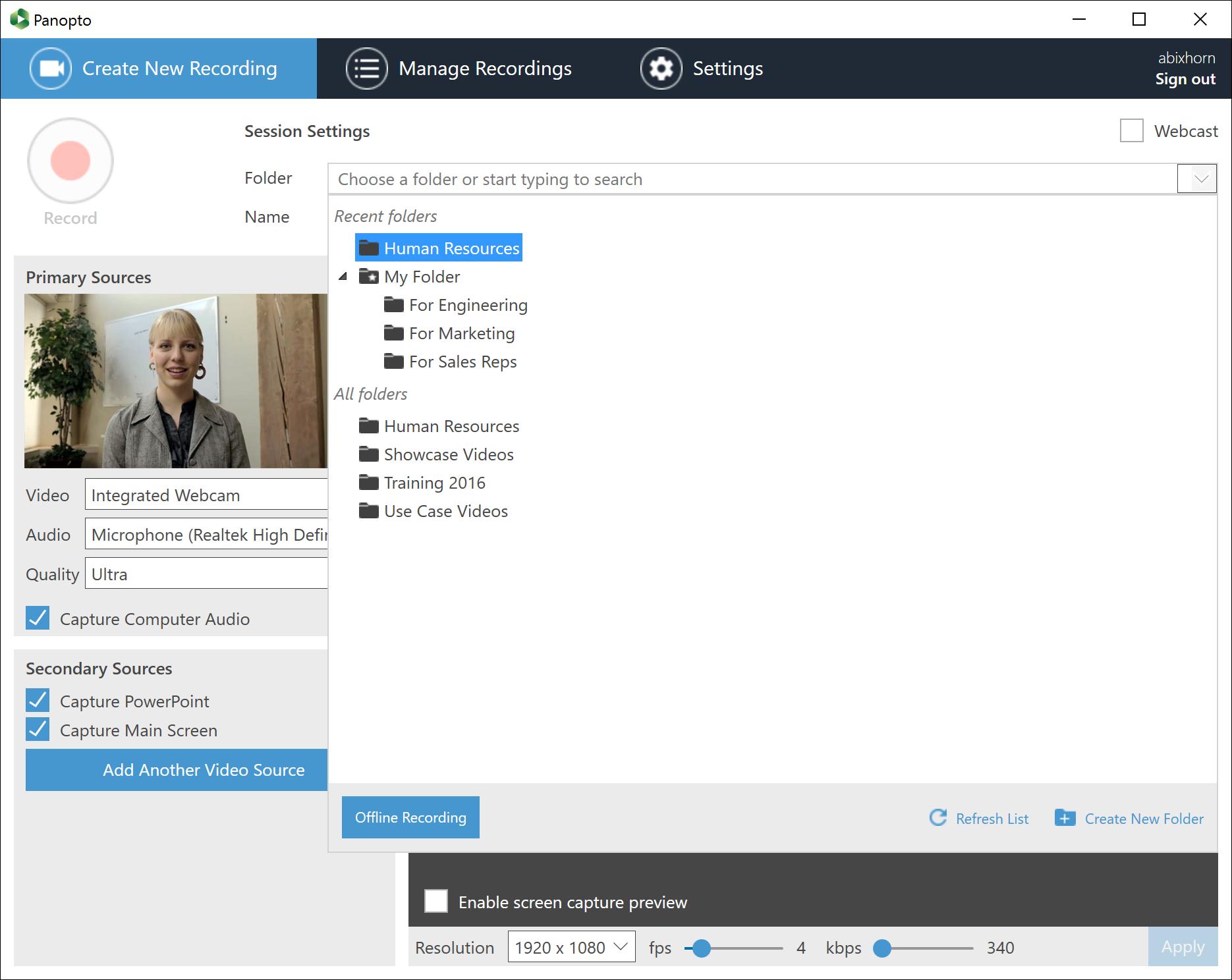 Folder Selector - Panopto Video Platform