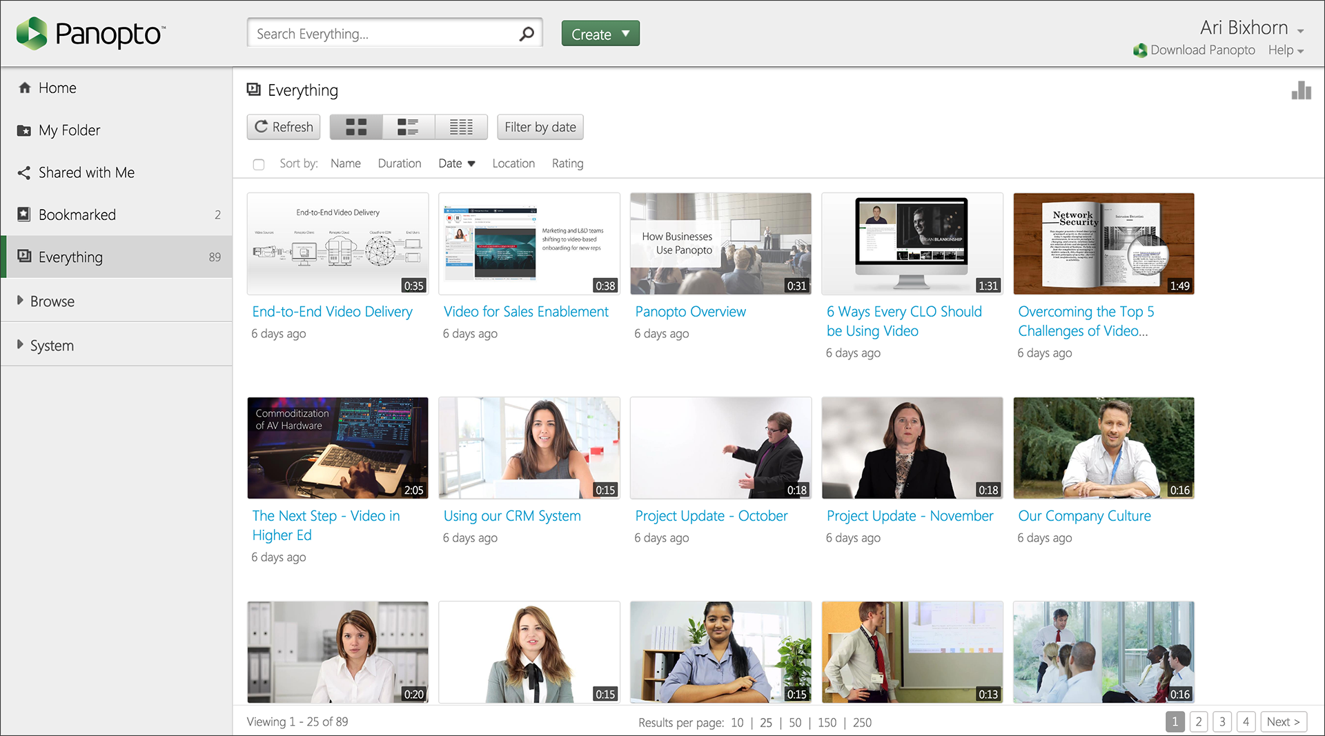 Grid View - Panopto Online Video Platform