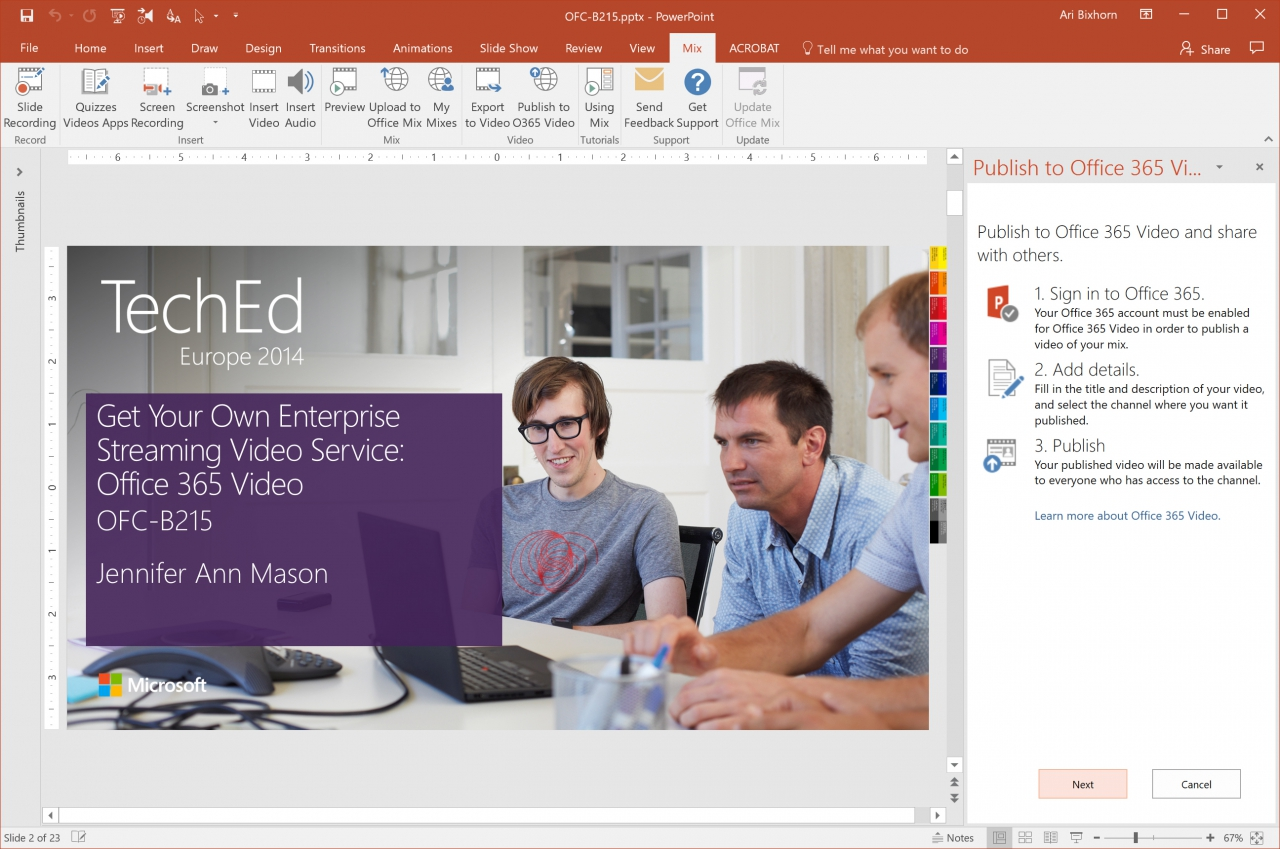 Microsoft Office Mix - Publish to O365 Video