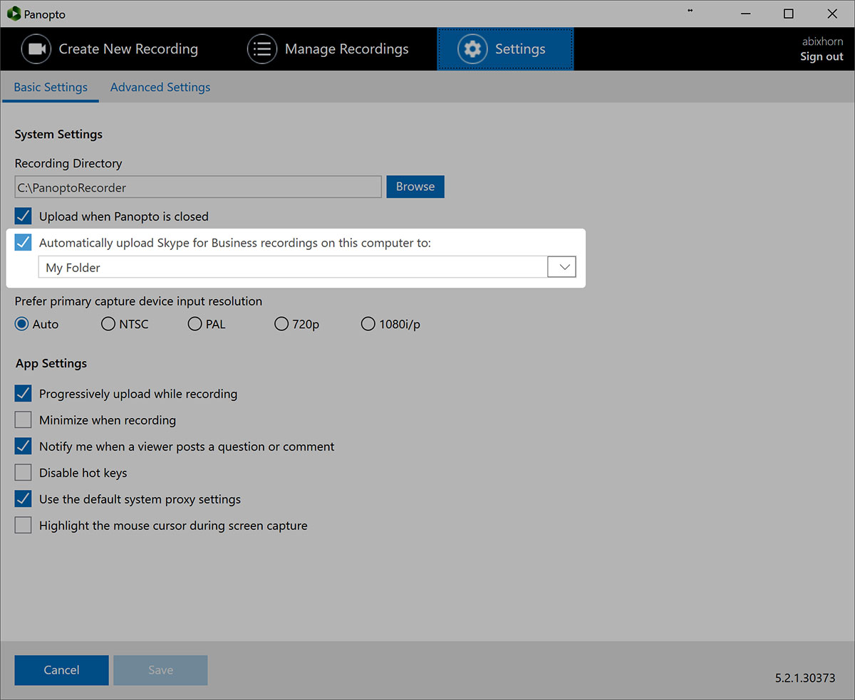 Skype for Business Settings - Panopto Video Platform