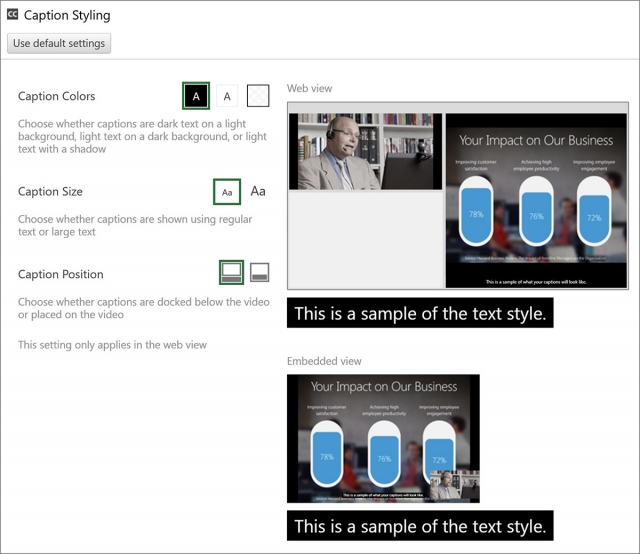 Caption Settings - Panopto Video Content Management System