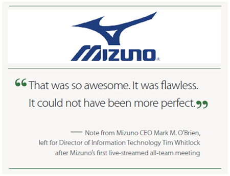 Mizuno - After their first live streamed all-team meeting