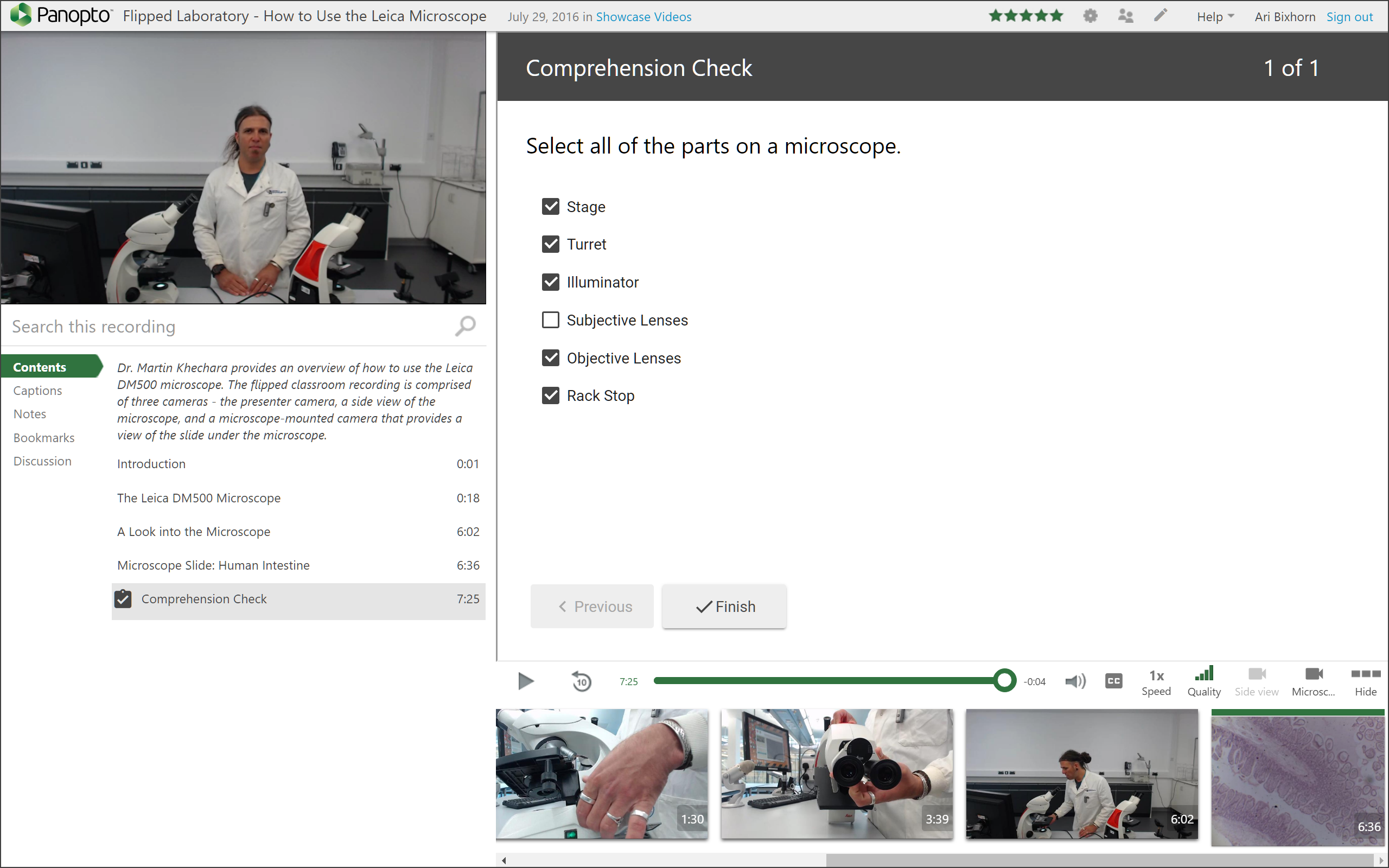 Panopto's video quizzing integration with Canvas