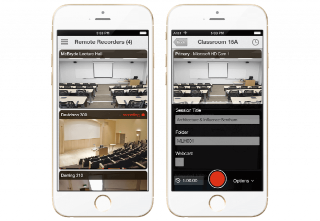 Remote recording and scheduling with lecture capture apps