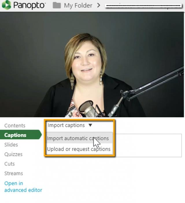 How to add automatic captions in Panopto