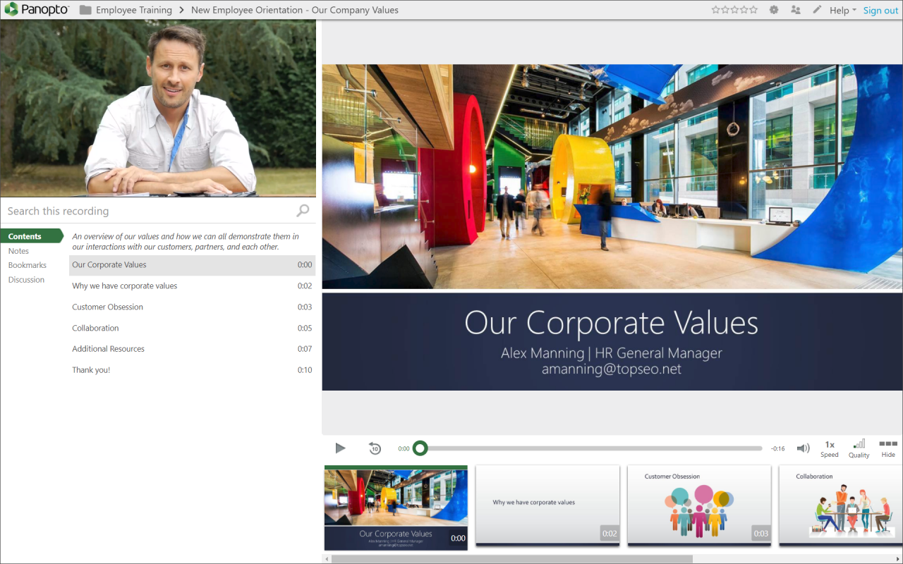 Create finished, polished corporate presentations with Panopto