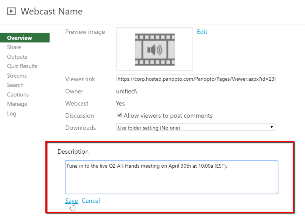 Add webcast waiting room description in Panopto