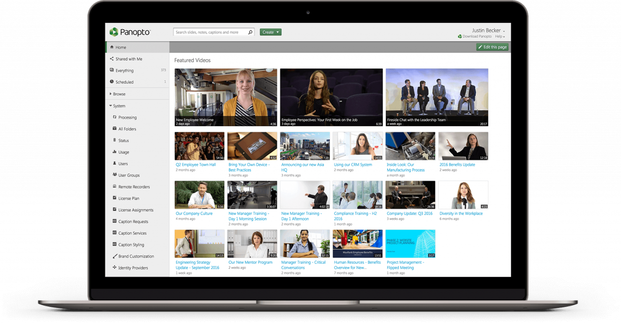 Panopto's video content management system makes internal video sharing easy