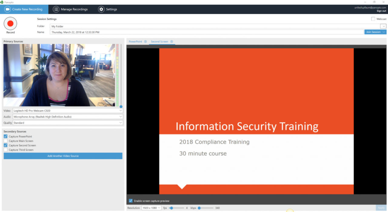 Record onboarding and training E-learning videos with Panopto