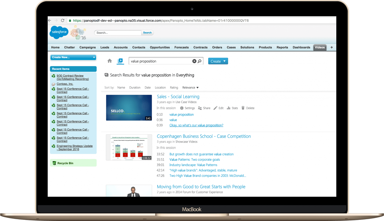Panopto's Smart Search function displayed inside SalesForce