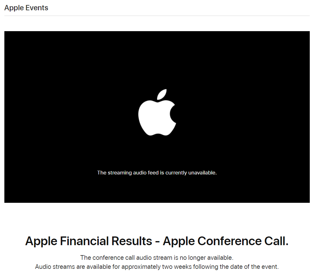 Apple 2018 Earnings Call Webcast