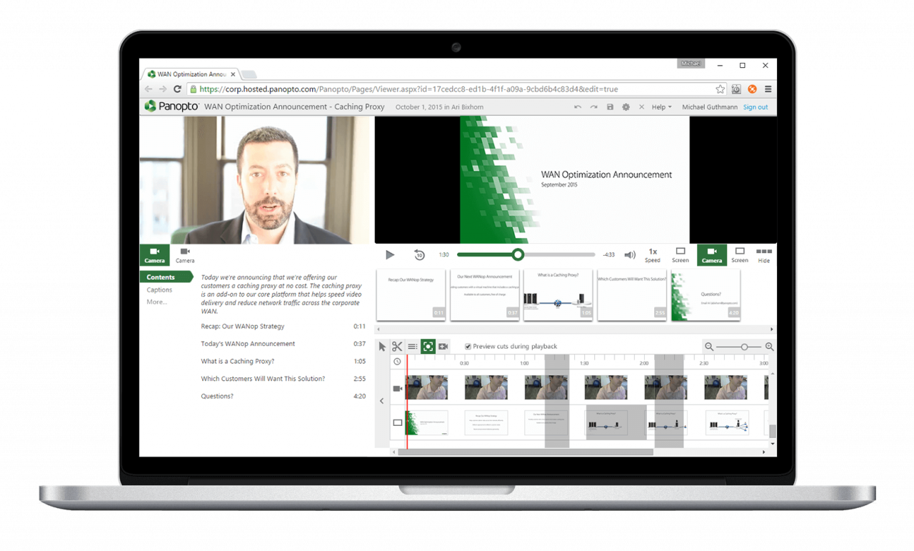 Panopto's easy online video editor