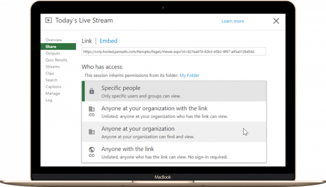 Live stream sharing settings