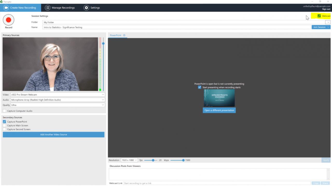 Diffusion en direct de contenu vidéo sécurisé avec Panopto