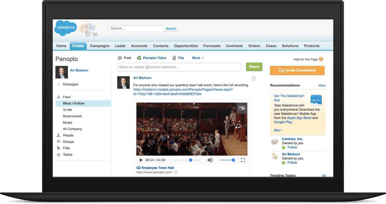 Panopto integrated with Salesforce to create mobile ready online sales library that supports video